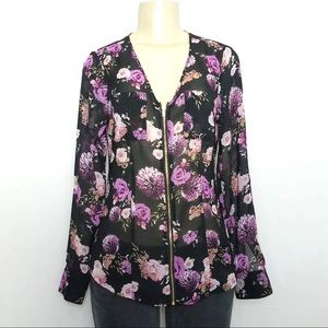 G by GUESS Purple Floral Sheer Zipper Blouse XS